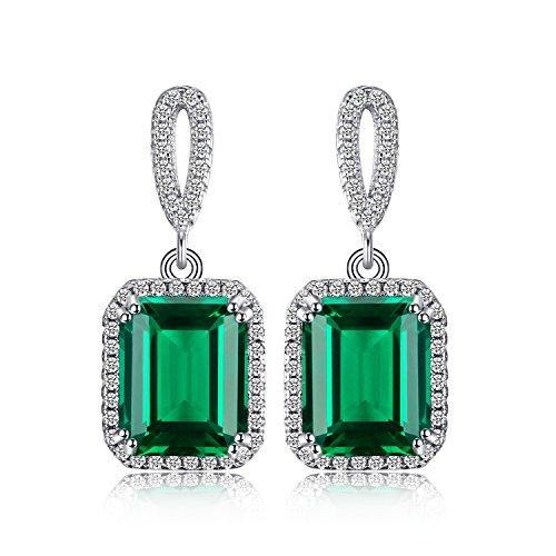 JewelryPalace Luxus 5.4ct Simulierte Grün Nano Russische Smaragd Halo Baumeln Ohrringe Ohränger 925 Sterling Silber