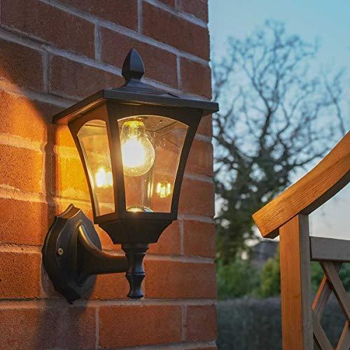 Festive Lights - Farol de pared con energía solar - Bombilla LED de filamento para exteriores