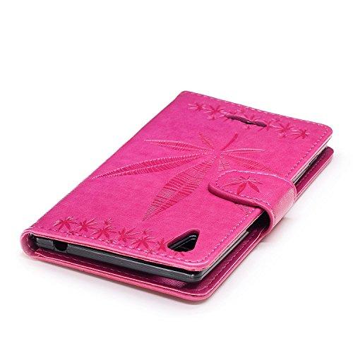 Für Sony Xperia T3 Case Cover, Premium Soft TPU / PU Leder geprägt Ahorn Muster Brieftasche Fall mit Halter & Cash Card Slots & Lanyard ( Color : Rose ) Rose