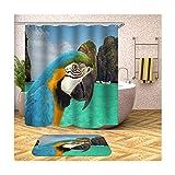 Gnzoe Polyester imperméable 2 Pack Ensemble de Rideaux de Douche et 16''x24'' Rug de Bain Bleu Perroquet 66x80 in