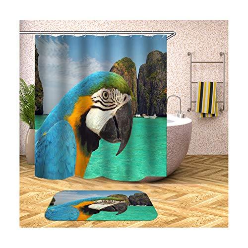 ANAZOZ Duschvorhang Wasserdicht Waschbar Badewanne Vorhänge Anti-Schimmel Polyester Papagei Badteppich-Set Blau 180X180CM A16584 (Aussehen Wie Ein Nerd Für Halloween)