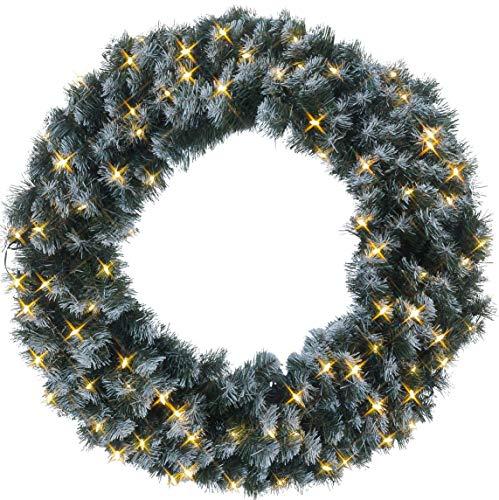 Best Season LED-Tannenkranz mit Schneedecor, beleuchtet circa Durchmesser 90 cm, 80 warmweiß Pisello LED Outdoor, Trafo Karton 612-28 (Outdoor Beleuchtete Kranz)