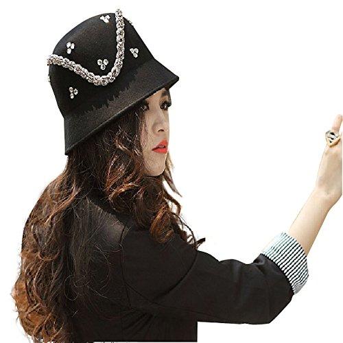 June's Young Chapeau Femme D'Hiver Chapeau De Style fedora de feutre laine Vintage Classique Jazz Chapeau Brillant Noir