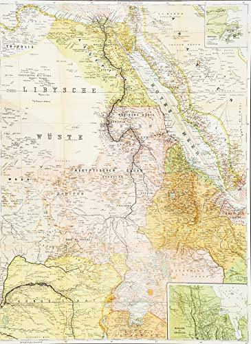 Historische Karte: Die NIL-LÄNDER - um 1910 [gerollt]: Carl Flemmings Generalkarte, No. 47.