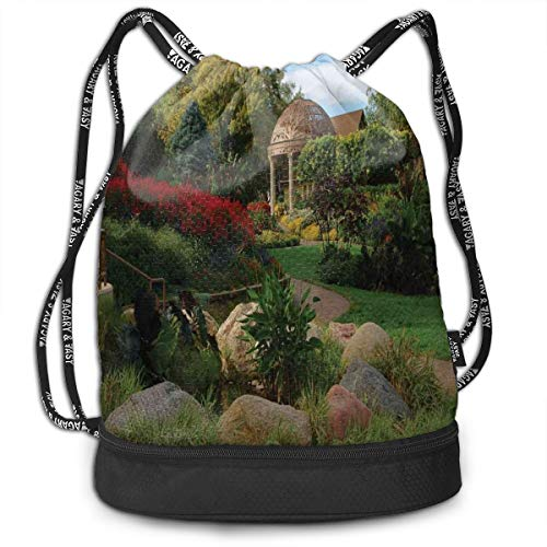 LULABE Printed Drawstring Backpacks Bags,Picture of A Gazebo at The Sunken Gardens In Lincoln City Blooming Green Nature,Adjustable String Closure