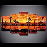 SLSMD-ART Gerahmte Drucke auf Leinwand, Wandkunst 5 Wandbilder Leinwand tropischen Küste Sonnenuntergang Wohnzimmer Dekoration Malerei, 100x55cm