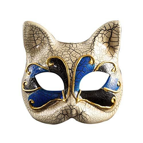 Kostüm Mädchen Das Tod - Lazzboy Kinder Maskerade Maske Vintage Venezianische Karierte Musikalische Party Cat Halloween Masquerade Mask(Blau)