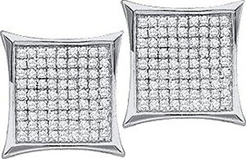 Diamant Boucles d'oreilles à tige en forme de Kite Pave Vis BK Fini or blanc Argent