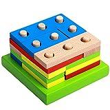 Liqiqi Lernspielzeug Bausteine, Montessori Kinder-Puzzle-Spielzeug, geometrisches Sortierbrett, frühe Erziehung, Tischspiel, Baustein-Set für Kinder Jungen und Mädchen