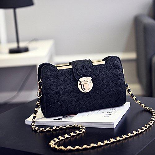 GUANGMING77 _ Sacco Sacco Sacco Sacco Estate Femmina Tutti-Match,Tessuto Nero Borsetta Woven Handbag Black