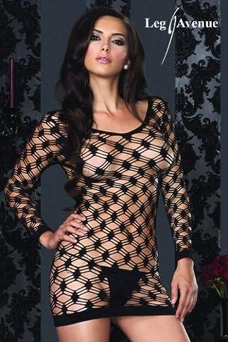 Leg Avenue Hardcore net long sleeved mini dress O/S, 1