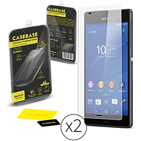 CaseBase Premium - Pellicola protettiva per Display in Vetro Temperato - Confezione doppia per Sony Xperia Z3