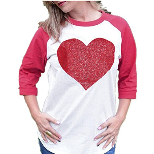 Blusen damen Kolylong® Frauen Elegant Herz Drucken Langarm Bluse Lässige Langarm shirt Sweatshirt Loose Rundhals T-Shirt Oberteil Tunika Top (S, Rot) (Herzen, Bralette Von Nur Die)