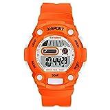 Sportivi Digitale LED Calendario Allarme Cronometro Cinturino di Plastica PU Orologi da Polso Per Bambini e Ragazzi, Arancio