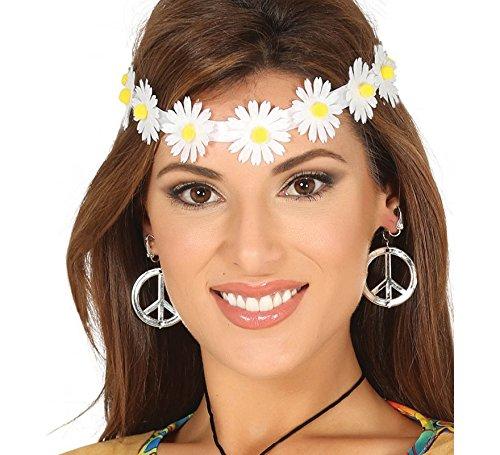 Guirca Rudy Diadema Hippie Flores Margaritas, Color Blanco/Amarillo, 1