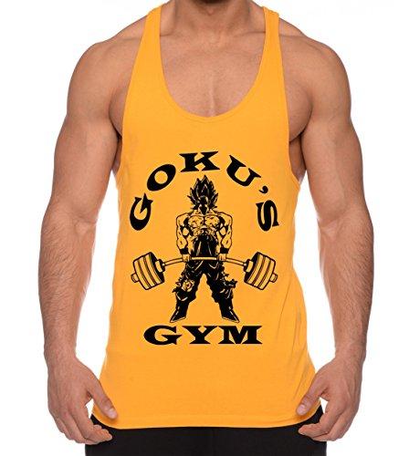 Goku Golds de los hombres camisa del músculo One Goku Dragon Master Son Ball Vegeta Turtle Roshi Piece Gym , Farbe2:Gelb;Größe2:M
