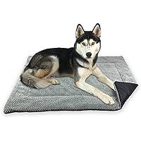 FLUFFINO Hundedecke - Flauschig, Weich u. Waschbar (Größe L, 104 x 68 cm, grau)- erhöhte Rutschfestigkeit durch Gumminoppen - Für große u. kleine Hunde o. Katzen - Hundematten/ Hundekissen, Katzendecke (L)