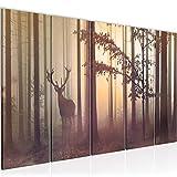 Bilder Wald Hirsch Wandbild 150 x 60 cm Vlies - Leinwand Bild XXL Format Wandbilder Wohnzimmer Wohnung Deko Kunstdrucke Gelb 5 Teilig - MADE IN GERMANY - Fertig zum Aufhängen 013456c