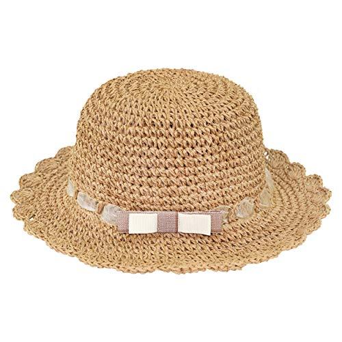 ANIMQUE Kinder Mädchen Sonnenhut Strohhut Faltbar Sommerhut UV Schutz Frühling Sommer Urlaub Strandhut Süß und Lieblich Khaki, Kopfumfang 48cm S