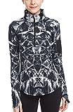 icyzone Damen Sport T-Shirt Langarm Laufshirt - 1/2 Reißverschluss Fitness Sweatshirt Laufjacke Running Tops (L, Lightning)
