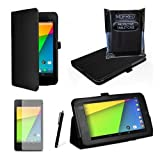 MOFRED® Black New Google Nexus 7 2 II Tablet (Launched July 2013) Case-(Second Updated Version of Case)-MOFRED® Executive Multi Function Standby Case with Built-in Magnet for Sleep / Wake feature for the Google Nexus 7 II-2nd Generation Tablet 16GB or 32GB eMMC + Screen Protector + Stylus Pen (Available in Mutiple Colors)