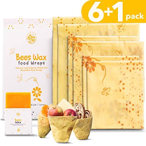 GREENZLA Cera d'api Riutilizzabile (Set di 6 + Bonus Beeswax Bar) - Avvolgimenti in Cotone Biologico e stoccaggio per Sandwich, Snack, Prodotti - Ecologico Zero rifiuti Beeswax Wrap