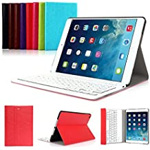 iPad Air 2 Funda con Teclado Bluetooth ,CoastaCloud iPad Air 2 Funda Cubierta Protectora con Teclado Inalambrico QWERTY Español para Apple iPad Air 2 (A1566, A1567)Rojo