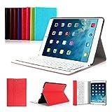 iPad Air 2 Funda con Teclado Bluetooth ,CoastaCloud iPad Air 2 Funda Cubierta Protectora con Teclado Inalambrico QWERTY Español para Apple iPad Air 2 (A1566, A1567)Rojo