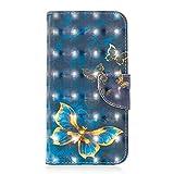 Coopay Bleu Marine Etui iPhone XR Luxe Papillom Bleu Or Motif Housse Coque...