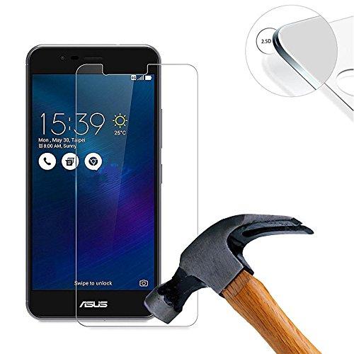 Lusee® 2 X Pack Panzerglasfolie Tempered Glass Hartglas Schutzfolie für Asus Zenfone 3 Max ZC520TL 5.2 Zoll Premium Screen Folie Protector Ultra Hart Bildschirmschutz 0,3mm 9H Clear 2.5D