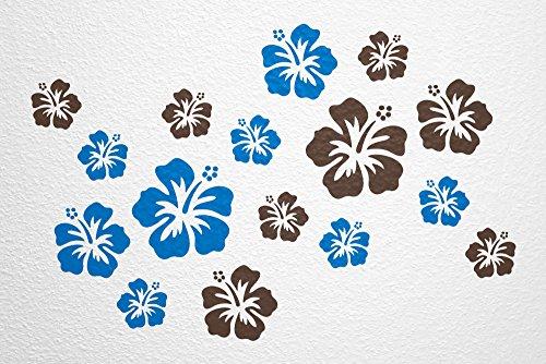 WANDfee® Wandtattoo 16 Hibiskus Blüten AC0611406 Größe Ø 7 - 15 cm, 2 x Ø 15 cm, 4 x Ø 11 cm, 10 x Ø 7 cm Farbe blau dunkelbraun (Leben, Lieben, Lachen Bilderrahmen)