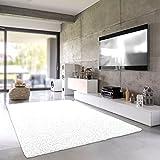 Teporio Shaggy-Teppich | Flauschiger Hochflor fürs Wohnzimmer, Schlafzimmer oder Kinderzimmer | Einfarbig, schadstoffgeprüft, allergikergeeignet in Farbe: Weiss; Größe: 40 x 60 cm