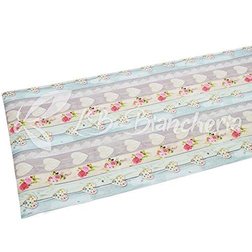 R.p. tappeto passatoia cucina bagno lavanderia camera multiuso in pvc con fondo antiscivolo - shabby love cuori - cm 52x180