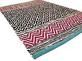 Second Nature ONLINE Blau Rand Kleine Fair Trade Geometrische Pink & Multi farbige Teppich 60cm x 90cm