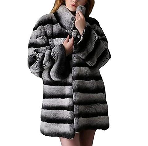 Saoirse Femmes Réel Chinchilla Rex Rabbit Fur Coat Long Sleeve Jacket