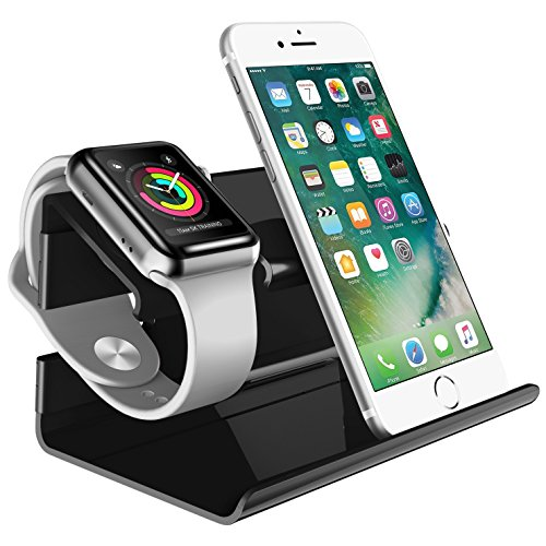 Bentoben apple stand iphone x stand iphone 8 stand docking station plastica ricarica posizione 2 in 1 magnetica docking station per apple watch e iphone 5/6/7/8/x-nero