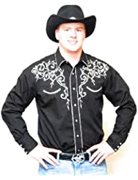 Western Express - Chemise americaine brode cowboy country USA - 100% coton - Noir - Homme - Taille XL - 730