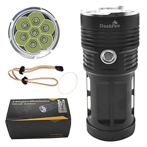DaskFire 7x CREE XM-L T6 6000 Lumen wasserdichte taktische Taschenlampe 3Modes Jagd Lampe Licht für Camping, Wandern und andere Outdoor-Sportarten und Indoor-Aktivitäten-schwarz