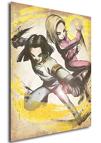 """Poster Dragon Ball """"Wanted"""" C-17 & C-18 (variant) - A3 (42x30 cm)"""