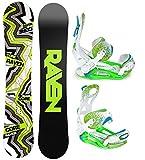 Snowboard Set: Snowboard Raven Core Carbon Rocker + Bindung Pathron Fastec Team ST White/Green/Blu