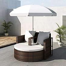 tidyard Conjunto Muebles de Jardín con Parasol,Sofa Exterior,Conjunto de Diván para Jardín