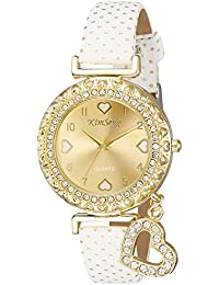 Habors Analogue White Leather & Non-Precious Metal Beige Dial Watch for Women and Girls - (Valentine Gift)