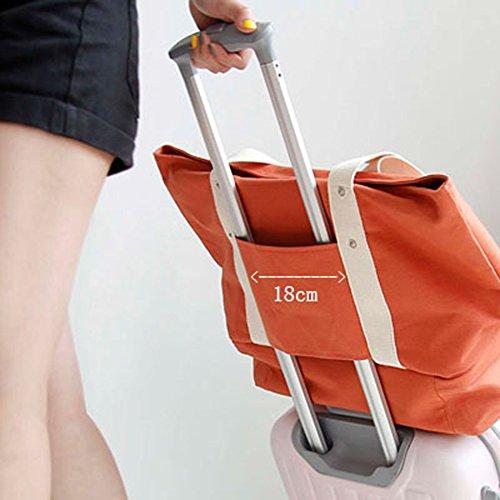 GossipBoy tragbare Reise Wochenend Tasche Leinen großen Handtasche oder Schultertasche Seesack Sporttasche mit Schuh Ablagefach, Textil, navy, 37x54.5 Orange