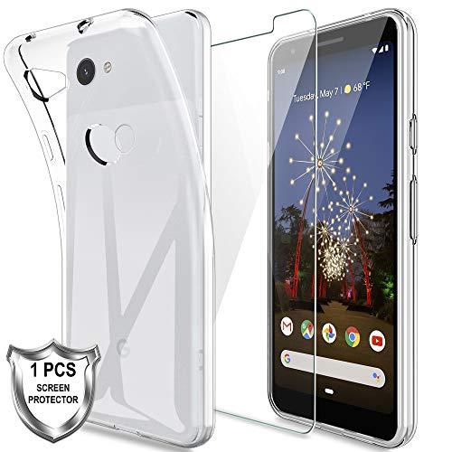lk custodia per google pixel 3a,morbida silicone gel tpu custodie protettivo case cover con screen protector vetro temperato[1 pack] per google pixel 3a - trasparente