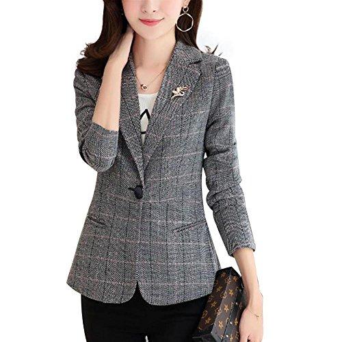 NJunicorn Uncle Damen Gemustert Casual Blazer Jacke Outfit Einzeln Knopf Blazer Elbow Patch (Grau,S)