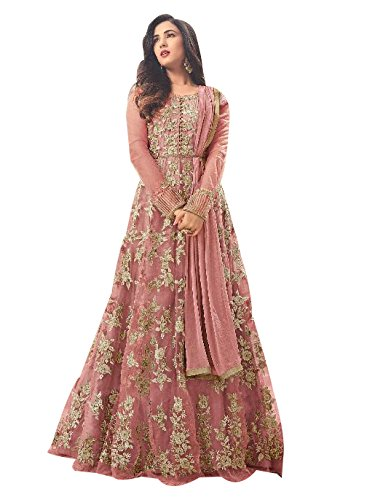 FKART Women's Latest Designer, Party Wear, Traditional, Embroidered Peach Color (Semi-Stitched_Free Size) Anarkali Salwar Suit for Marriage and Wedding Ceremony (Premium Quality)  available at amazon for Rs.1999