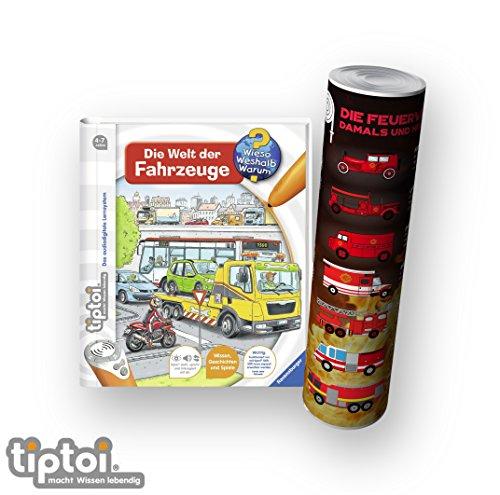 tiptoi Ravensburger Buch Wieso? Weshalb? Warum? 4-7   Die Welt der Fahrzeuge + Kinder Feuerwehr Auto Poster