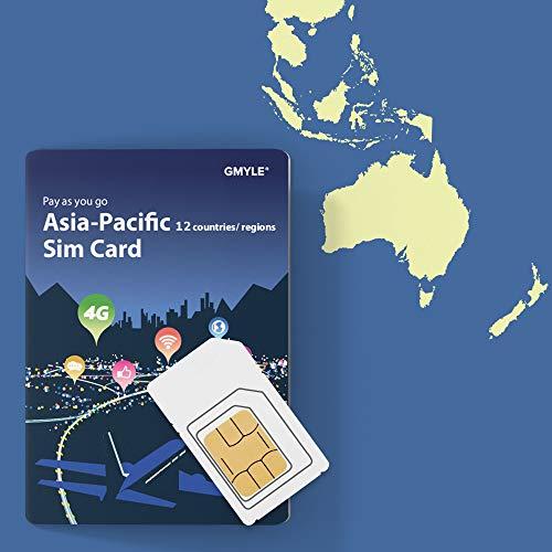 China, Thailand, Korea usw. 12 Länder Prepaid-SIM-Karte 5 GB / 14 Tage, GMYLE Asia 4G LTE / 3G-Internetdaten, jederzeit und überall Aufladen, Support Facebook Instagram YouTube in China (nur Daten) (Cdma-hotspot)