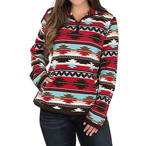 Pullover Damen, Sweatshirt Freizeit Lose Lange Ärmel Geometrischer Druck Langärmlige T-Shirt Oberteile Revers Pullover Mit Reißverschluss Resplend