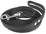 Gummierte Schleppleine schwarz - 7m lang - verschiedene Breiten - mit Handschlaufe